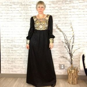 Vintage 70s Holly Gloria Moret Gold Metallic Maxi
